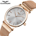 Relogio Masculino GUANQIN 2017 mens watches top brand luxury Ultra Thin Gold full Stainless Steel Wristwatch Simple Mens Clock A