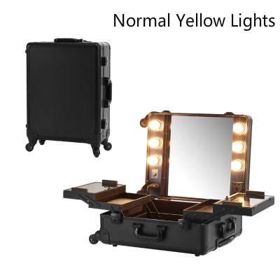 Make Lichter Roll Box Fall Tablett Station Mit Faltbare Kosmetische up Tragbare Yellow Normale Professionelle Schwarz fSqxRH1S