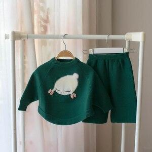 Image 3 - 작은 아기 소녀 의류 세트 어린이 양모 스웨터 2 조각 겨울 가을 의상 소녀를위한 겉옷 복장 크리스마스 의상
