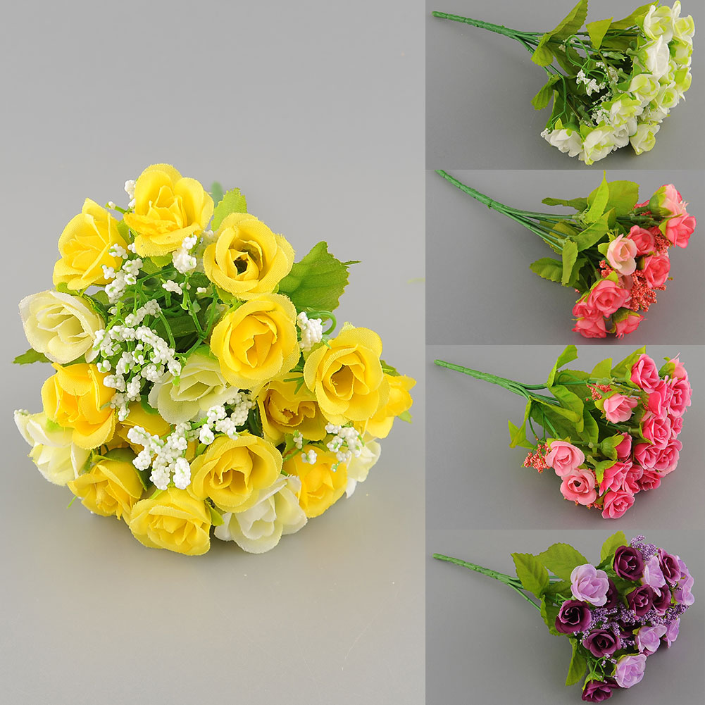 2017 New Beautiful 21 Heads Artificial Mini Rose Bud Silk Flower Arrangement Party Home Garden