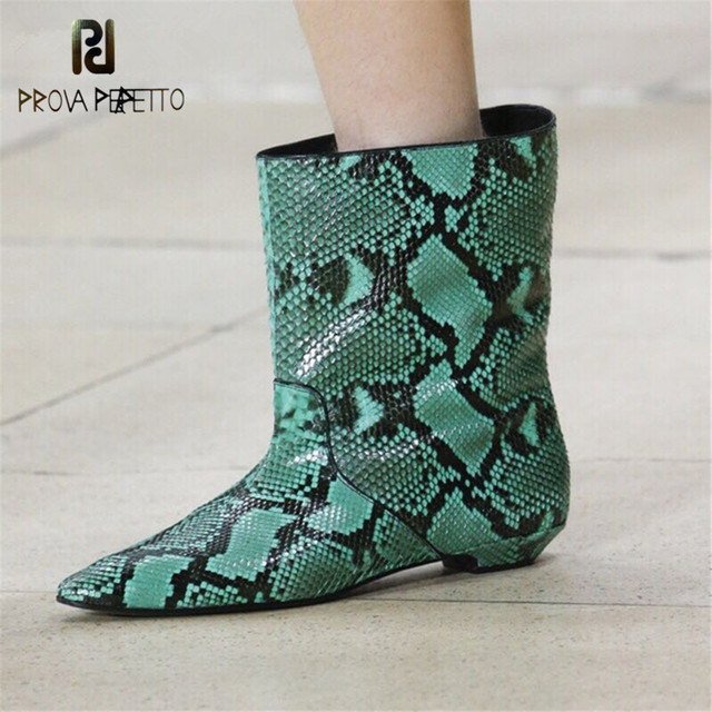 Prova Perfetto Snake Skin Leather Ankle Laarzen Voor Vrouwen Regen Laarzen Runway Korte Laarzen Vrouwen Wees Teen Platte Hak Botas mujer