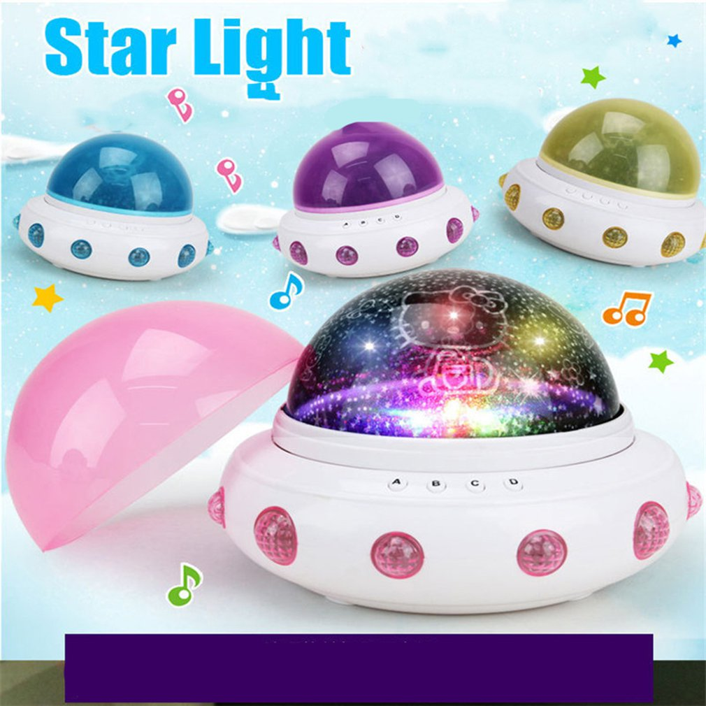 Creative UFO Shape Starry Star Night Light Projection Romantic Rotate LED Battery Table Lamp for Baby Kids Sleeping