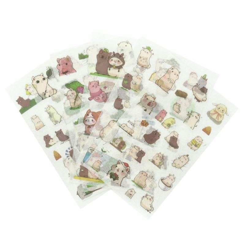 6 Pcs/lot Alpaca Family Paper Sticker Decoration Diary Scrapbooking Label Sticker Kawaii Korean Stationaries Stickers