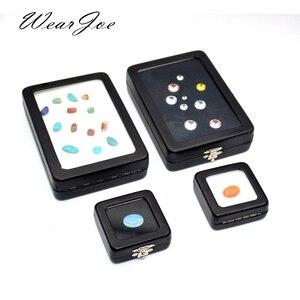 Image 1 - 5 sztuk/partia luźne diamentowe pudełko wystawowe PU skórzane etui klejnot kamień schowek czarny biały Pad wisiorek z koralików Gemstones organizer
