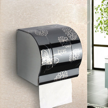 Moderne Bad-accessoires Schwarz Malerei Oberfläche Messing Toilettenpapierhalter Box Wand Montiert