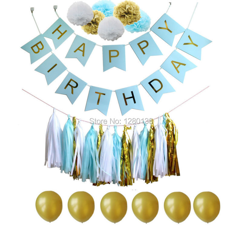 Blue White and Gold Tissue Paper Tassel Garland Pompoms Party Balloons with Happ