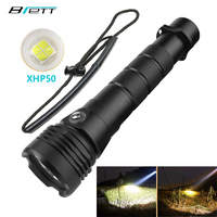 diving flashlight cree xhp50 Hard Light Use 2*26650 battery Outdoor diving camping adventure Powerful led flashlight