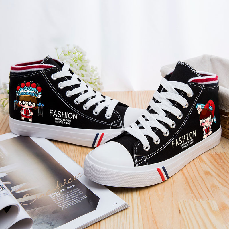 Harajuku Spring and Summer Black White Women Flat Leisure Canvas Shoes Custom Printed Girls Board Casual Shoes Zapatos Mujer стоимость