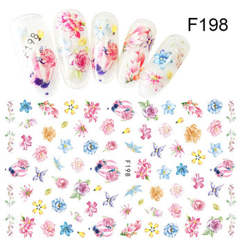 Flower Series Nail Water Decal Stickers Sakura Daisy Lavender Floral Pattern Transfer Sticker  Nail Art Decoration 47