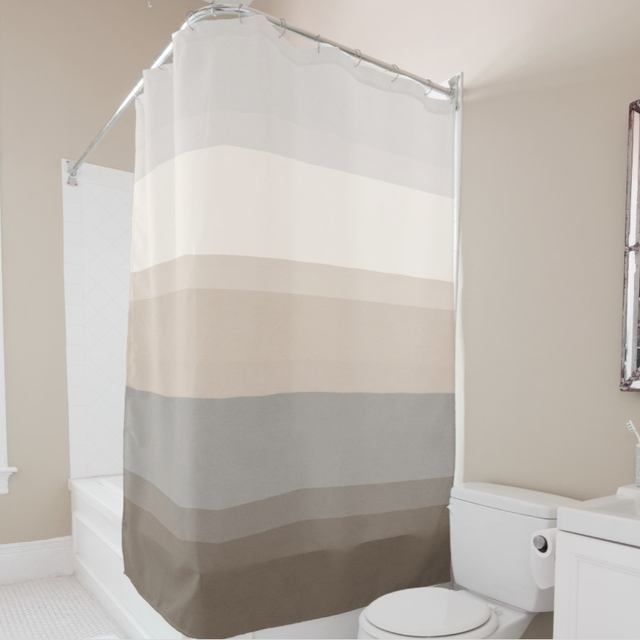 Chic Taupe Cream And Gray Stripe ShowerCurtain Decorative Fabric