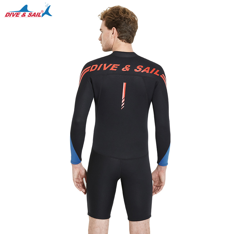 2018 Mens Wetsuit Jumpsuit 3mm Neoprene Long Sleeve Shorty Adults Spring  Wet Suits Front Zip Black Blue Diving Scuba Surfing -in Wetsuit from Sports  ... dda85ef3694e