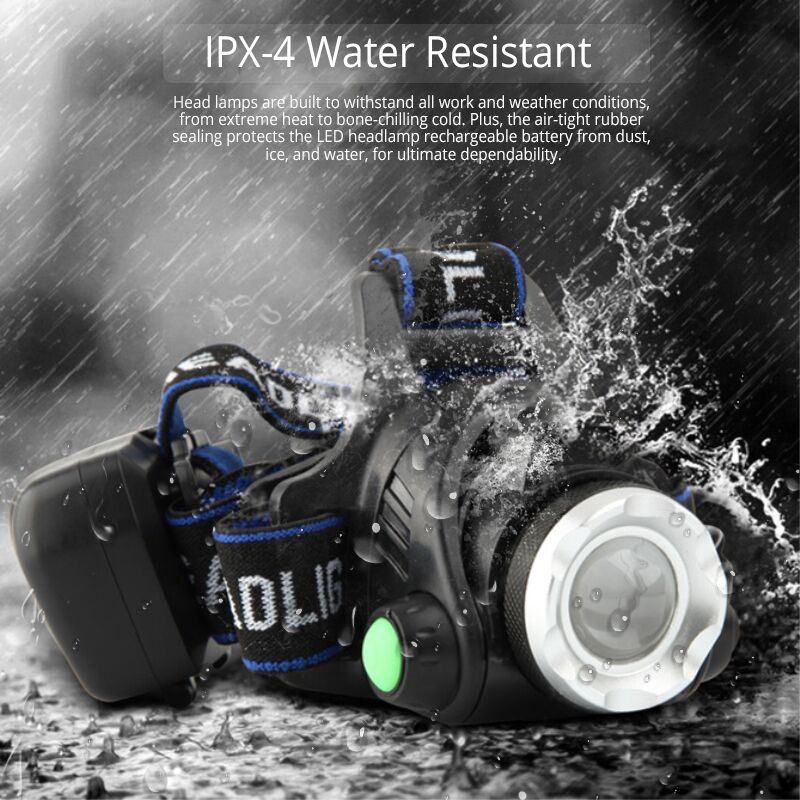 Most Powerful LED headlamp fishing headlight T6/L2/V6 3 modes Zoomable lamp Waterproof Head Torch flashlight Head lamp 18650 2
