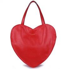 2016 Caliente Rojo en Forma de Corazón de Las Mujeres Bolso de Mano de Cuero PU de LA Mujer Bolsos de Las Mujeres Famosas Bolsas de Gran Bolso de Las Señoras Bolsa de Hombro de la Marca