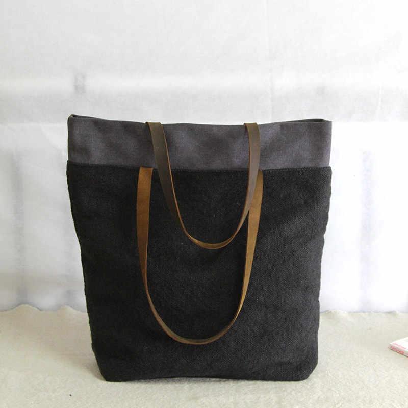 AETOO saco de pano de algodão e linho bolsa de ombro Do Vintage senhoras literárias portátil grande saco ocasional sacos de linho grosso novas mulheres originais