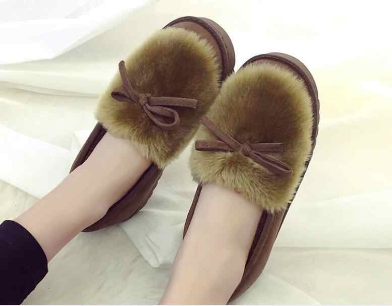 Nuevas botas de nieve para mujer botas de tobillo impermeables con plataforma inferior para mujer botas de invierno de piel de algodón grueso