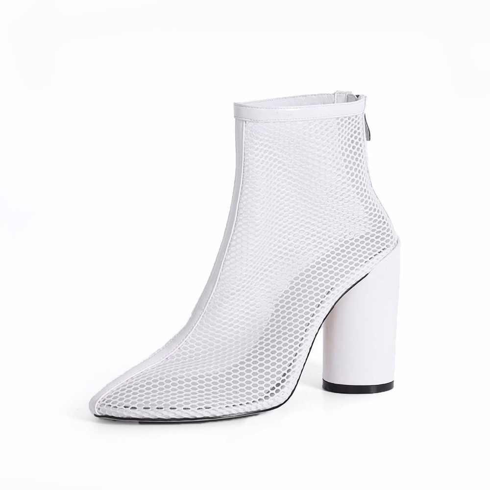 2018 süperstar marka yaz çizmeler hava mesh kare topuk kadın çizmeler orta buzağı fermuar Hollow yuvarlak ayak katı gece kulübü ayakkabı L56