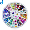 Portable 12 Color Manicure Crystal Rhinestones Decorantions For Nails Glitter DIY Crystal To Charms 3D Nail Art Tips Wheel SC72