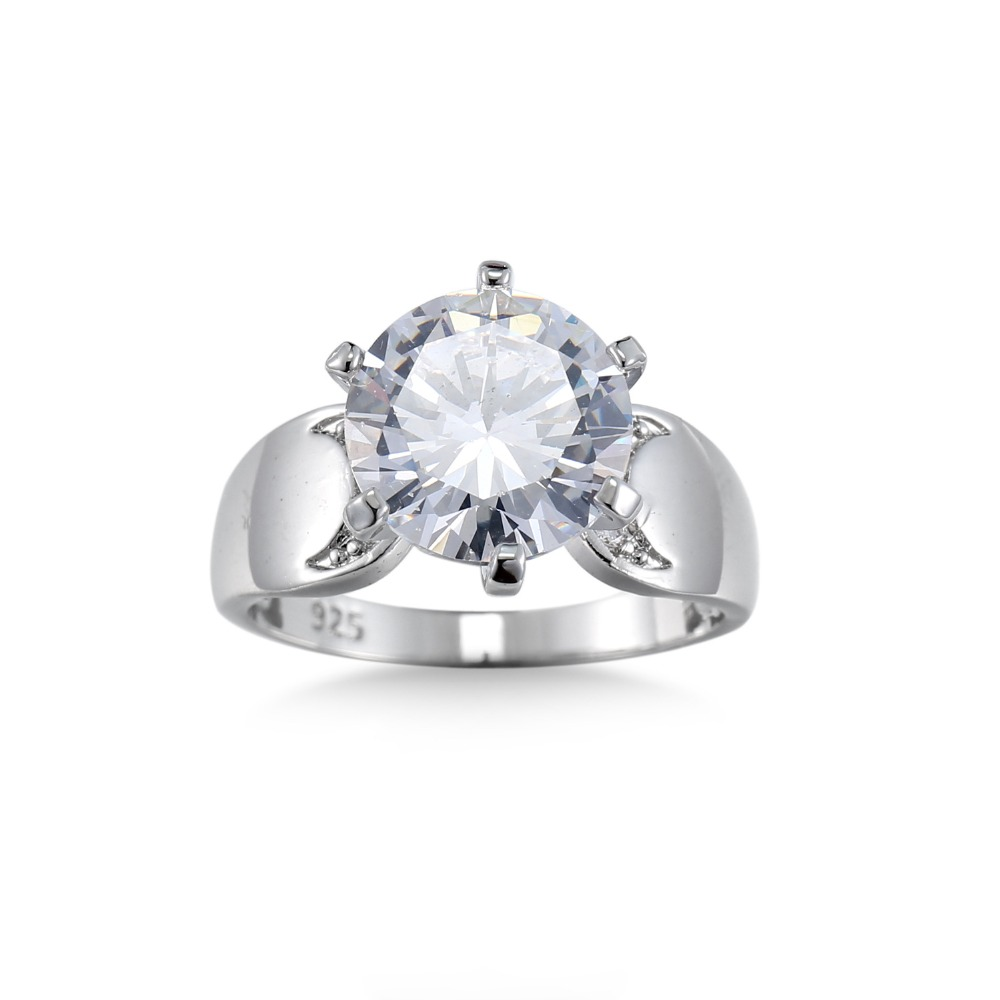 Big Promotion 100% Solid Silver Ring 2 Carat CZ Diamant