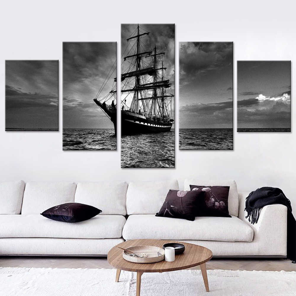 Bedroom Wall Art Pictures 5 Pieces white-black Night Boats in Sea Printed Canvas Painting Home Decoration No Frame