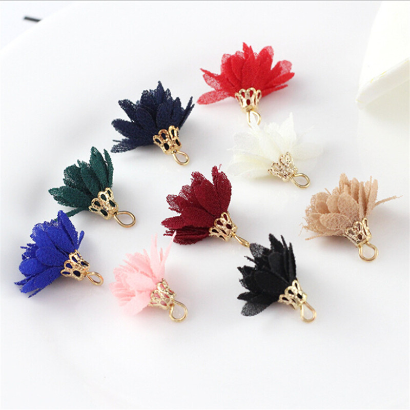 10pcs lot wholesale 15mm small silk flower fabric tassels with gold cap charms pendant for earrings DIY findings jewelry making in Jewelry Findings Components from Jewelry Accessories