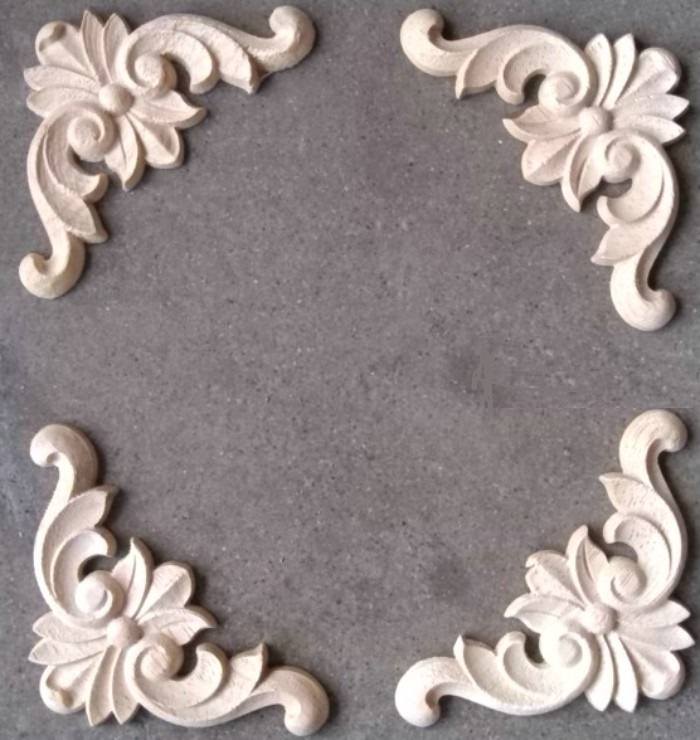 48pcs Lot 60 Thick8mm Furniture Architectural Liques Corners Rubber Wood Flower Unpainted Woodwork In Kitchen Cabinet Parts Accessories From Home
