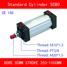 CE ISO SC80 Standard Air Cylinders Valve Bore 80mm Strock 350 to 1000mm Stroke Single Rod Double Acting Pneumatic Cylinder