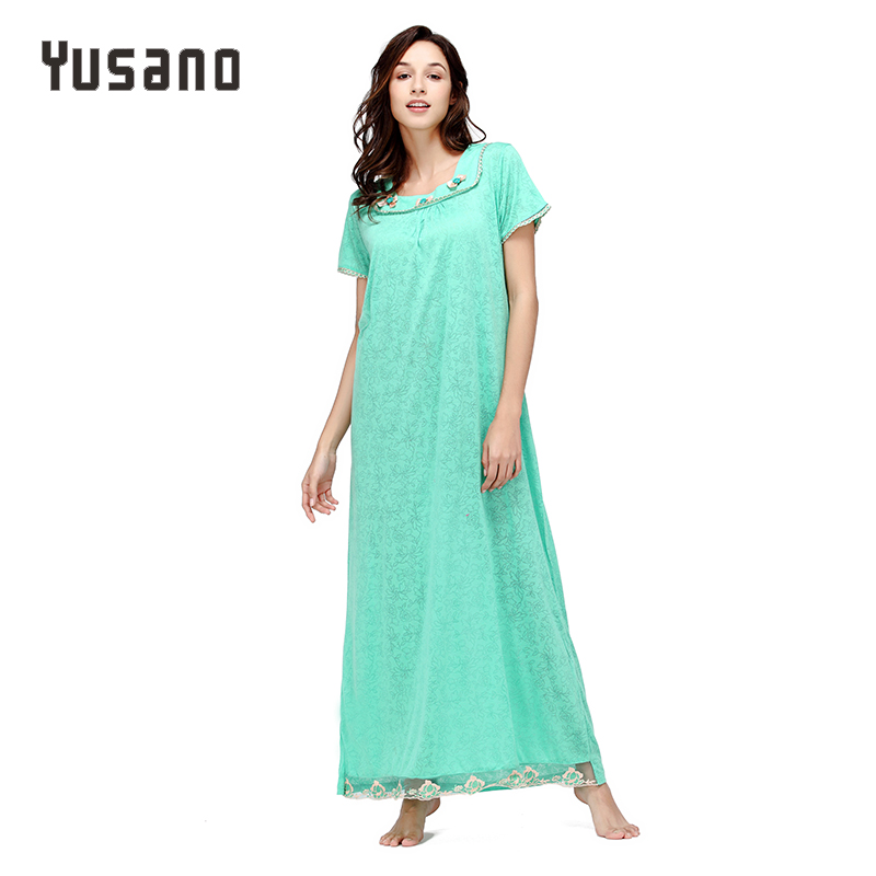 Yusano Women Long Nightgown Cotton Long Nightdress Loose Sleep Dress Casual Home Clothe Nightshirt Lace Plus Size Sleepwear 1