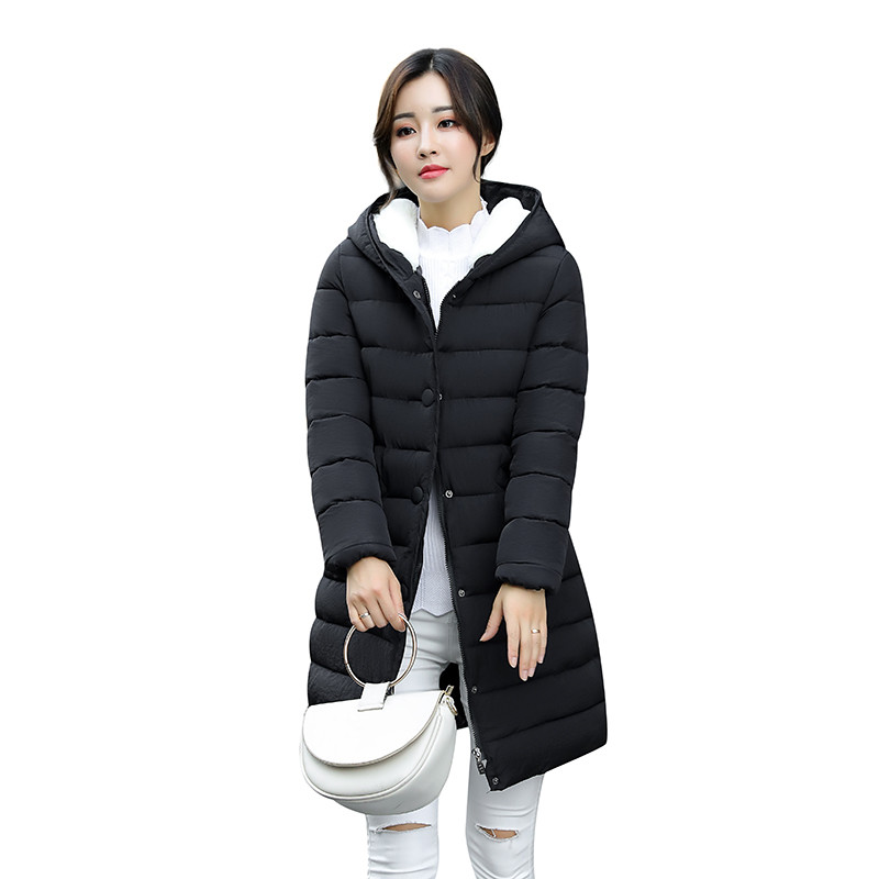 Long Jacket Female Winter Jacket Women Hooded Warm Parka Plus Size 3XL Cotton Coat Ladies Outerwear Manteau Femme Hiver C3598 women s winter jacket hooded thick warm parkas cartton solid high quality cotton coat manteau femme hiver plus size l 4xl dj29