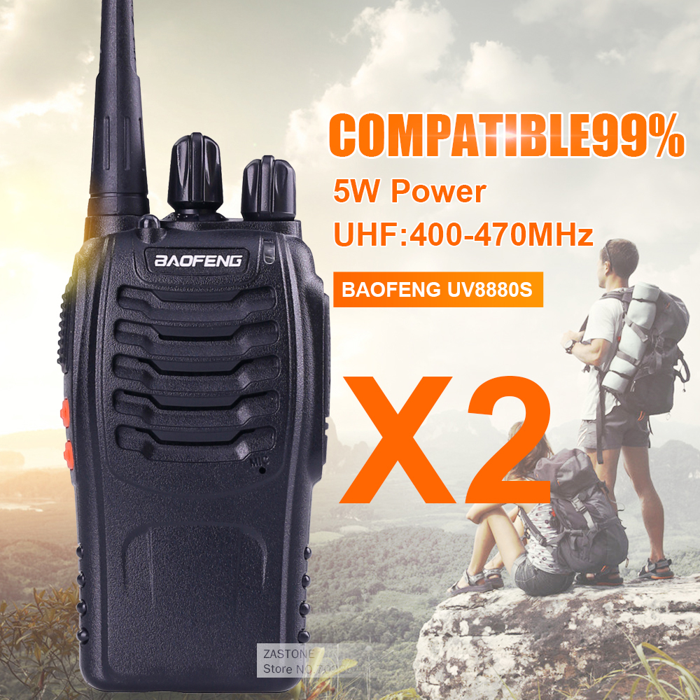 bilder für 2 stücke von RU Günstigste Baofeng 5 Watt 16CH UHF400-470NHZ Handheld Zweiwegradio BF-888S walkie talkie