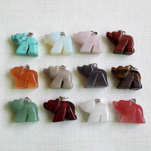 natural stone Bear pendant Quartz Point Crystal point gem charms pendants for jewelry making 12pcs/lot Free shipping