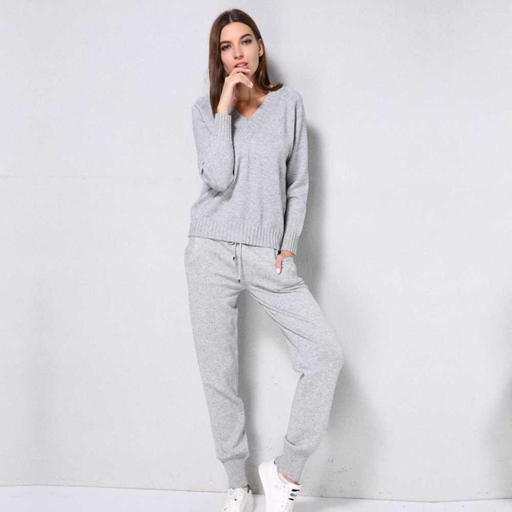 ddb04ed3 ... Женский комплект из 2 предметов: толстовка + штаны, зимний осенний  теплый трикотажный спортивный костюм ...