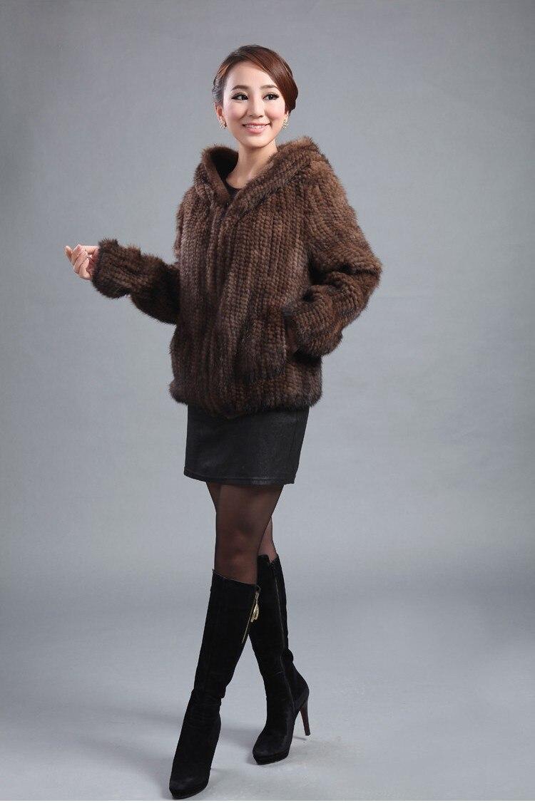 ZDFURS * neue gestrickte echte Nerz Pelzmantel Frauen Top Fashion - Damenbekleidung - Foto 3