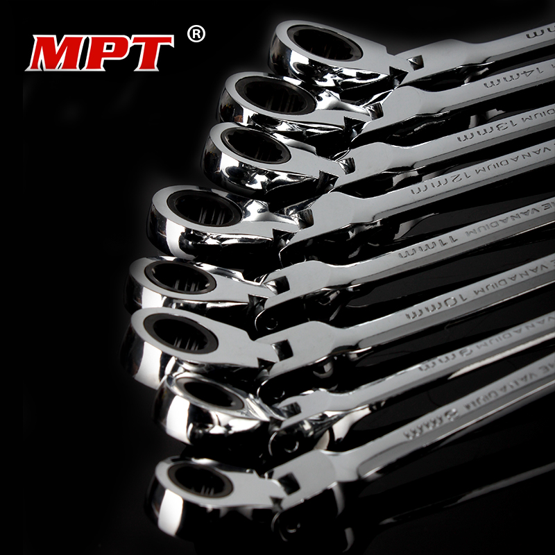 MPT 9 pieces flexible head ratchet wrench spanner set combination key wrench set 8~19mm car repair Hand tools set 9 mm overvalue flexible head ratchet metric spanner open end and ring wrenches tool ratchet handle wrench high quality