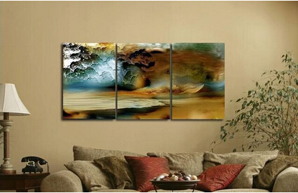 Exceptional Discount 3 Piece Canvas Thunderstorm Modern Abstract Large Cheap Wall Art  Of Oil Painting For Sale For Home Decoration In Painting U0026 Calligraphy From  Home ...