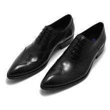 Деловая модельная мужская кожаная обувь с острым носком, броги в британском стиле, тонкие туфли на шнуровке, модная мужская обувь с резным узором