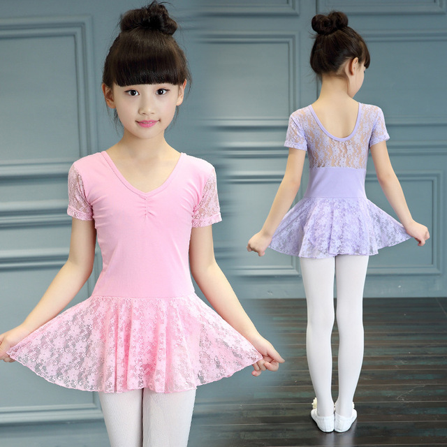 d878370e7 Girl Short Sleeve Leotard Gymnastics Costume Lace Ballet Tutu Dance ...