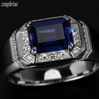 Fashion Jewelry Mens 18k White Gold Plated 8 10MM Sapphire Blue AAA Cubic Zirconia Engagement Wedding
