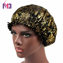 New Fashion Women Bonnet Satin Sleeping Cap Gold Printed Shiny Floral Femme Lace Band
