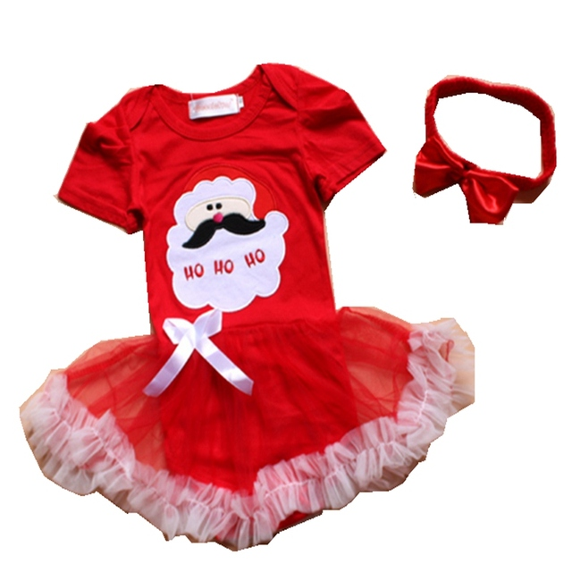 5f7850a65 Santa Claus Baby Girls Red Christmas Dress Headband Lace Tutu Clothes  Vestido Infantil Robe Bebe Fille