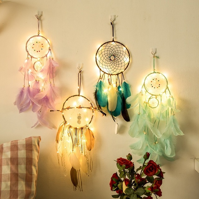fairy lights battery operated indian dream catcher net bedroom wall decor copper string light christmas gifts