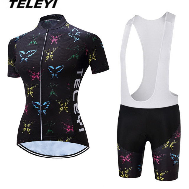2018 TELEYI Black MTB Bike Jersey bib shorts sets Ropa Ciclismo maillot  Women Cycling Clothing Girl bicycle Top Bottom Female 1632041a7