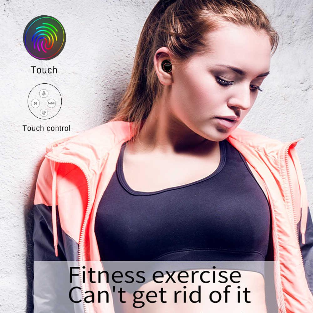 QCR TWS 5.0 bezprzewodowe słuchawki Bluetooth wyświetlacz LED zasilania sterowanie dotykowe Sport 9D HiFi Stereo bezprzewodowe słuchawki