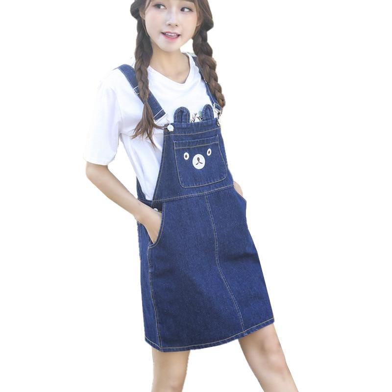 Korean Fashion Cute Bear Print Kawaii Skirt Denim Overalls Women Preppy Style Jeans Suspenders Skirts jupe jean