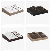 High Quality Leatherette Jewelry Set Display Tray Necklace Stand Box Ring Holder Earrings Organizer Pendant Showcase for Counter