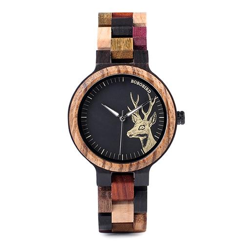 Бобо птица кварцевые часы для мужчин reloj mujer лось гравировка деревянные женские часы в деревянной коробке relogio masculino отличный подарок для влюбленных - Цвет: Womens 38mm