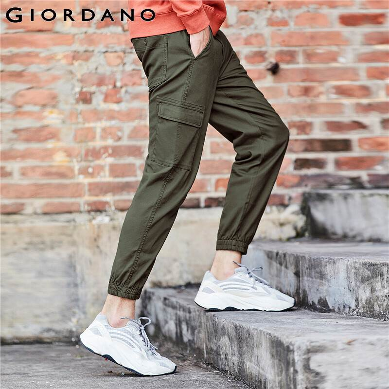 Giordano Men Pants Stretchy Cargo Full Length Pants For Men Mid Rise Taper Trousers Casual Multi Pocket Pantalones Hombre(China)