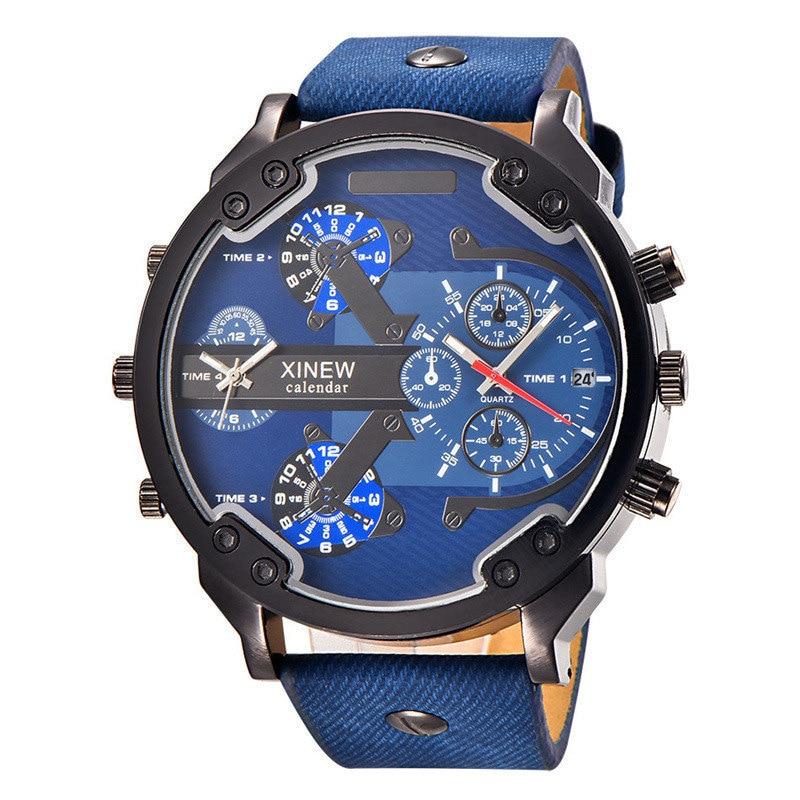 Super Big Size Male Watch Top Brand Famous Luxury Designer Calendar Quartz Watch Decorated Small Dials Man Casual Wristwatch