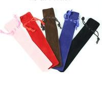 1500 Pcs/set Wholesale Velvet Pen Pouch Holder Single Pencil Bag Pen Case Rope Locking Gift Bag for Gift Pen