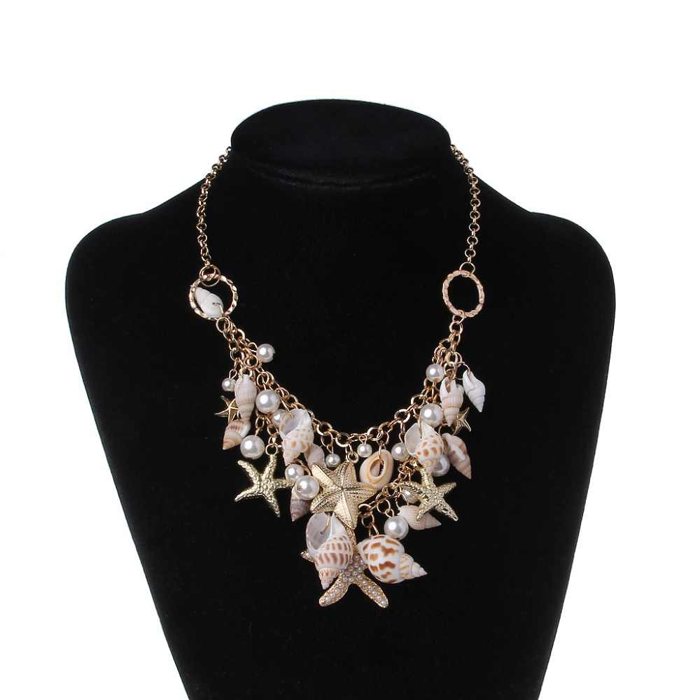 JAVRICK Sea Shell  Faux Pearl Collar Bib Statement Chunky Necklace Pendant/Earring/Bracelets Women