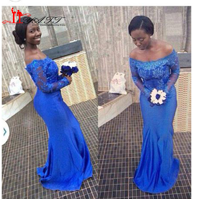 Aso Ebi style Blue Lace Mermaid Evening Dresses Nigerian prom ...